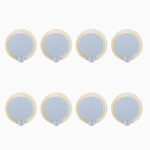 Runde weiße Wandleuchten aus Metall von Lumiance, 1970er, 8er Set