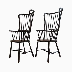 shop one of a kind side chairs online at pamono Architecture Art Deco vintage windsor style armchairs set of 2