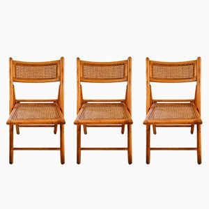 Wood & Cane Folding Chairs, 1950s, Set of 3