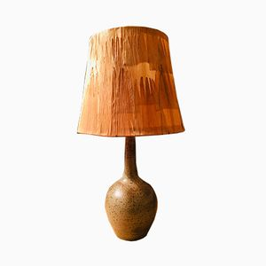 Lampada da tavolo vintage in legno e ceramica