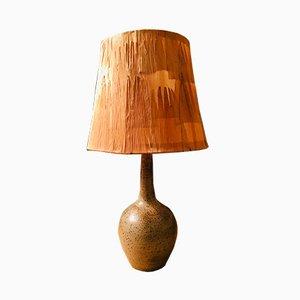 Vintage Tischlampe aus Keramik & Holz