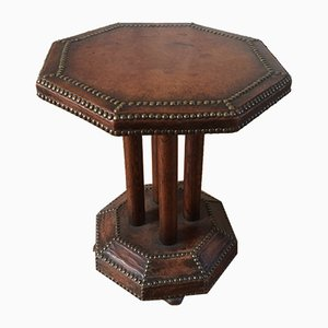 Vintage Octagonal Studded Leather Pedestal Table, 1940s