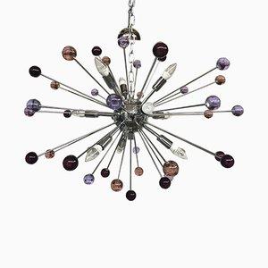 Lámpara de araña Sputnik de cristal de Murano multicolor