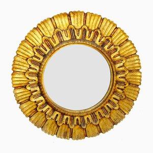 Vintage Spiegel mit Holzrahmen in Sonnen-Optik