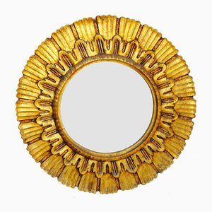Vintage Wooden Sunburst Mirror