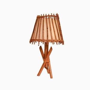 Lampada da tavolo vintage in bambù e stoffa