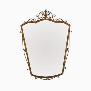 Espejo italiano vintage de hierro forjado dorado de Pier Luigi Colli, años 50