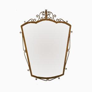 Italienischer Vintage Spiegel mit Rahmen aus vergoldetem Schmiedeeisen von Pier Luigi Colli, 1950er
