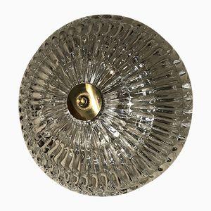 Schwedische Einbaulampe aus Kristallglas & Messing von Carl Fagerlund für Orrefors, 1950er