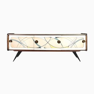 Mid-Century Dutch Modern Sideboard with Hand-Painted Pattern, 1960s