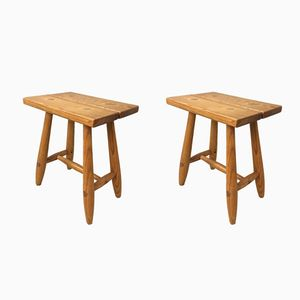 Mid-Century Larch Stools, Set of 2