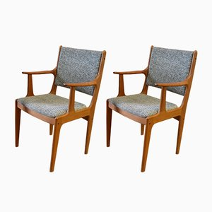 Mid-Century Danish Teak Carver Armchairs by Johannes Andersen, Set of 2