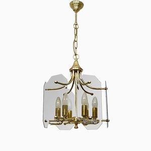 Lámpara de araña italiana vintage dorada, años 60