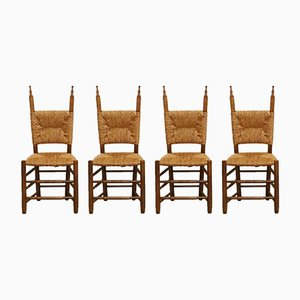 Vintage Spanish Rush Chairs, 1950s, Set of 4