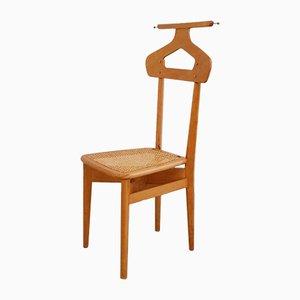 Vintage Stummer Diener Stuhl aus Holz & Rattan von Ico & Luisa Parisi für Fratelli Reguitti, 1950er