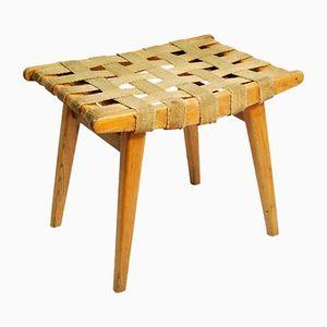 Sgabello modernista con seduta intrecciata, anni '60