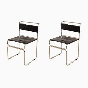 Sedie vintage in acciaio e pelle nera di Giovanni Carini per Planula, set di 2