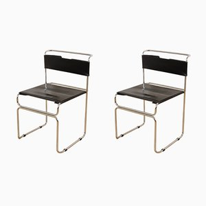 Vintage Steel and Black Leather Chairs by Giovanni Carini for Planula, Set of 2