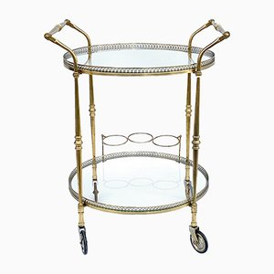 Round Brass Bar Trolley with Bottle Holder by Maison Baguès, 1950s