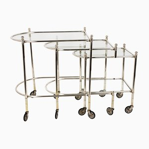 Silver-Plated Brass Nesting Tables on Wheels from Maison Jansen, 1960s