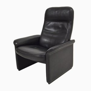 Vintage DS50 Black Leather Reclining Chair from de Sede
