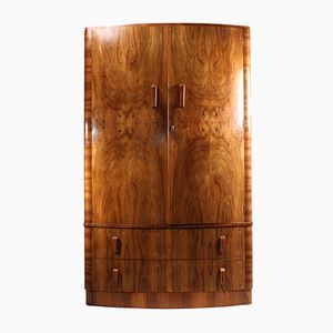 Art Deco Walnut Bow Front Wardrobe, 1930s