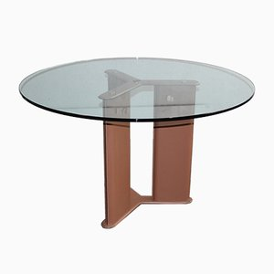 Tavolo rotondo in vetro e pelle di Tito Agnoli per Matteo Grassi, anni '80