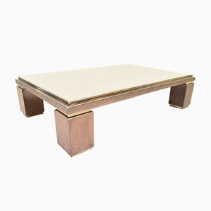 Hollywood Regency Brass and Travertine Coffee Table from Belgo Chrom / Dewulf Selection