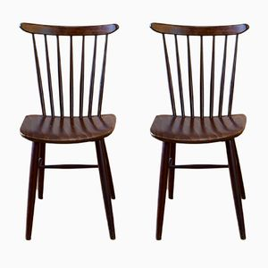 Vintage Czech Slatted Back Chairs from Drevounia, Set of 2