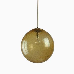 Lámpara colgante de burbuja de cristal ahumado en ámbar de Peill & Putzler
