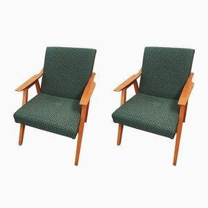 Grüne Vintage Sessel, 1960er, 2er Set