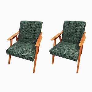 Vintage Green Armchairs, 1960s, Set of 2