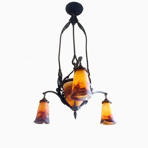 Antique Wrought Iron and Tulip Glass Chandelier by Muller Frères