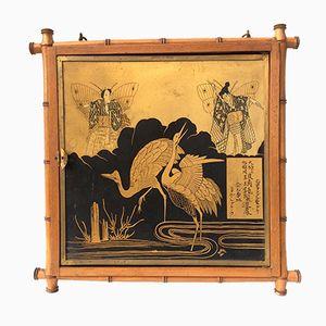 Specchio antico trittico in bambù con decorazione giapponese, Francia, 1876