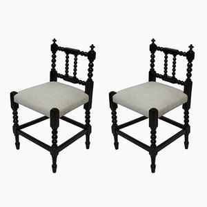 Ebonisierte englische Bobbin-Stühle, 1910er, 2er Set