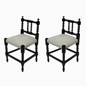 English Ebonized Bobbin Chairs, 1910s, Set of 2