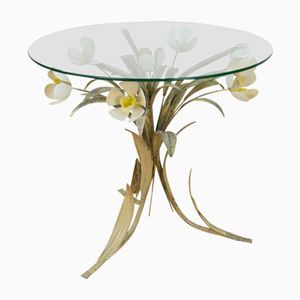 Table d'Appoint de Style Hollywood Regency avec Tulipes, 1970s