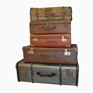 Vintage Suitcases, Set of 5