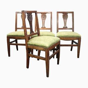 Antike Stühle aus geschnitztem Nussholz, 1780er, 4er Set