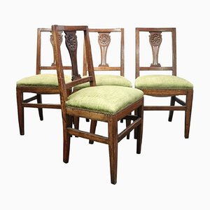 Chaises Sculptées Antique en Noyer, 1780s, Set de 4