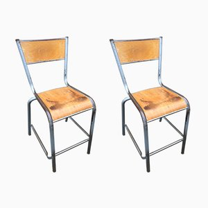 Mid-Century French High School Chairs from Mullca, Set of 2