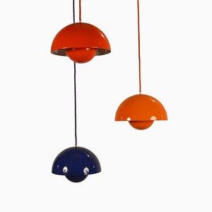 Lampen in Blumentopf-Optik von Verner Panton, 1960er, 3er Set