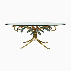 Vintage Hollywood Regency Style Floral Coffee Table