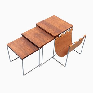 Rosewood & Leather Nesting Tables with Magazine Rack from Brabantia, 1960s