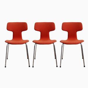 Vintage 3103 Stühle in Hammer-Optik von Arne Jacobsen für Fritz Hansen, 1979, 3er Set