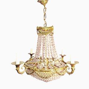Lampadario vintage in bronzo e cristallo