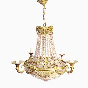 Vintage Bronze & Crystal Chandelier