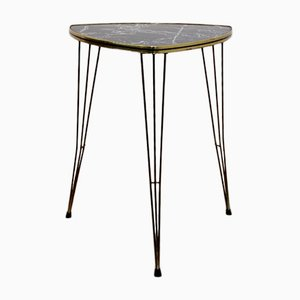Belgian Formica and Brass Tripod Side Table with Marble Print, 1950s
