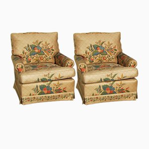 Vintage Flower Armchairs, 1980s, Set of 2
