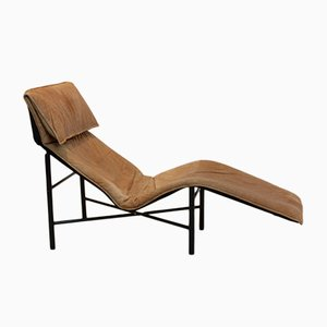 Skye Cognac Leather Chaise Longue by Tord Björklund for Ikea, 1980s
